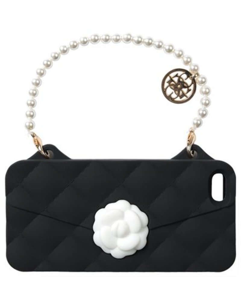 BYBI Lifestyle Fashion Brand Flower Zwart telefoontasje iPhone 5S/5