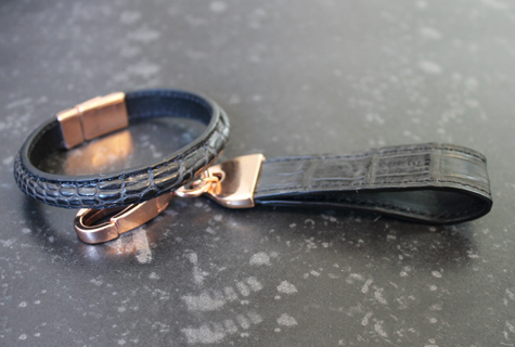 Black Crocodile Bracelet & Key Chain