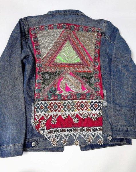 Jeansvest vintage Ananda borduurwerk  multicolor
