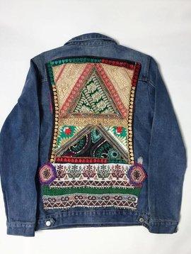Veste en jeans vintage Ananda broderie en taille Large