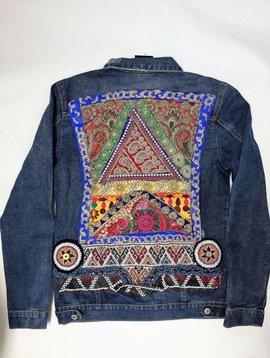 Jeansvest Ananda borduurwerk  multicolor blue Large