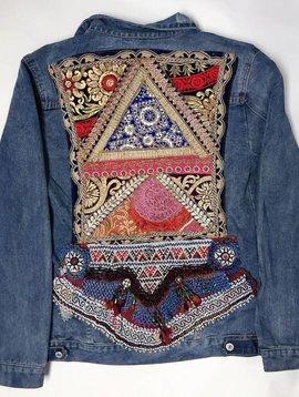 Veste en jeans vintage Ananda broderie multicouleur noir-doré XL