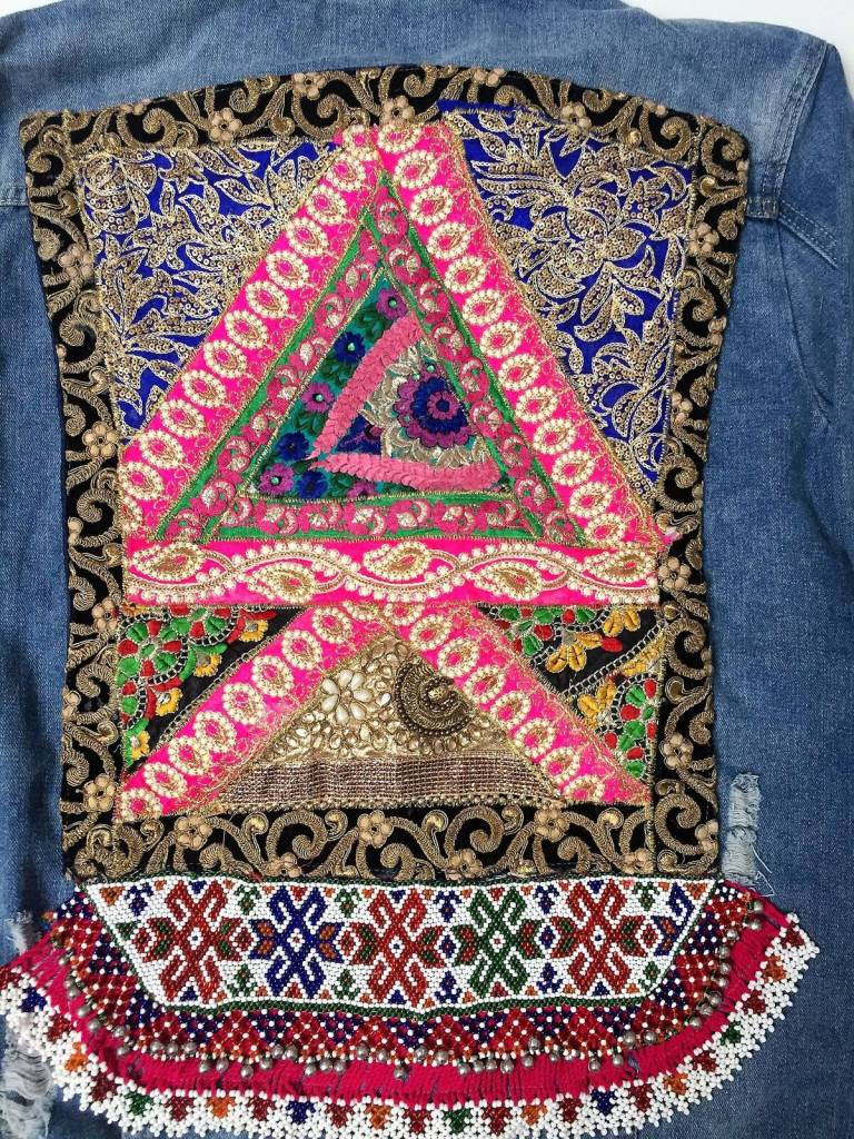 Jeansvest Ananda borduurwerk  multicolor zwart-roze XL