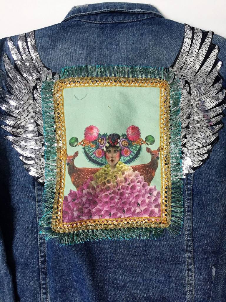 Jeansvest vintage vleugels Arty Jean -XL
