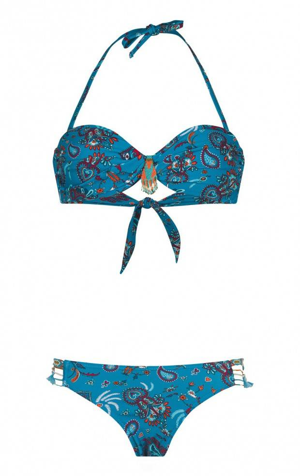 Nomadswim blue strapless two-piece swimsuit