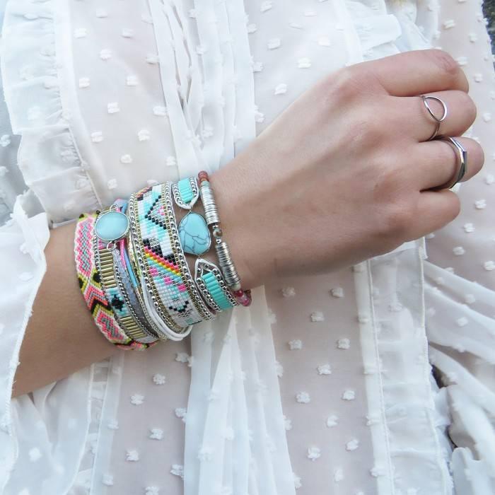 Bracelet Annie-Mini turquoise/violet