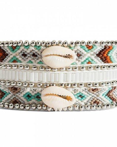 Mona-twin women's armband schelp zilver wit