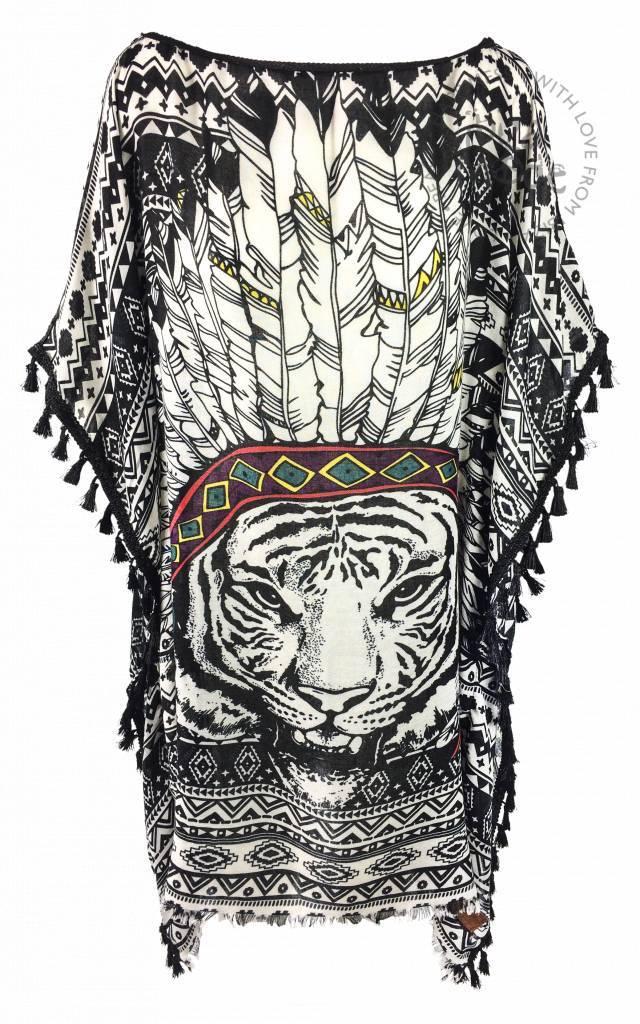 Tuniek veer leeuw zwart halflang