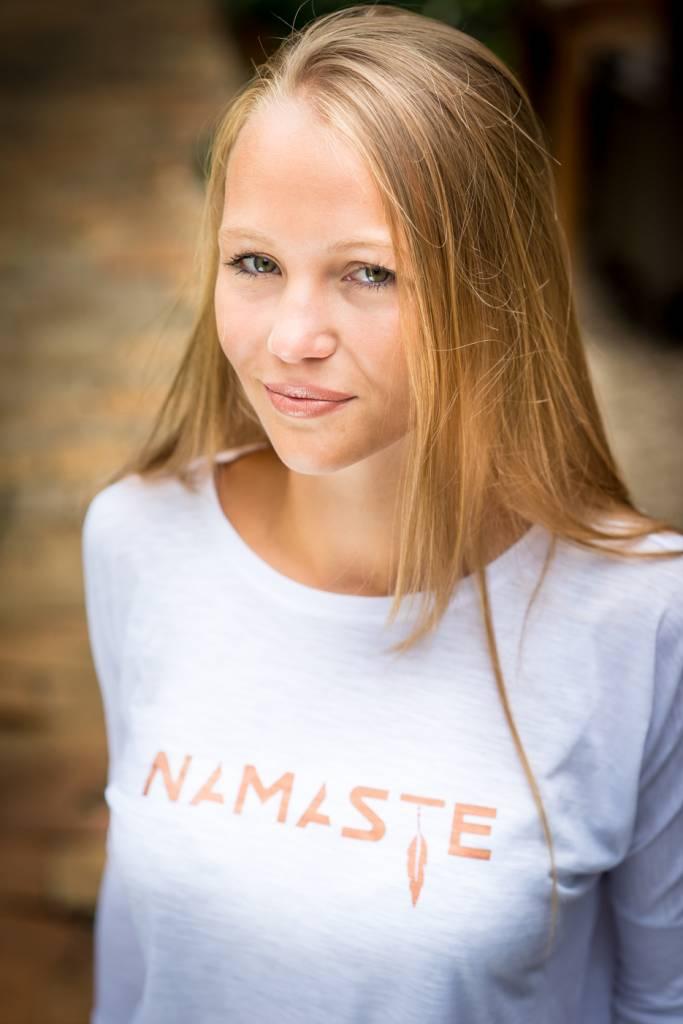 Miss Milla NAMASTE tshirt slub dropped shoulder white