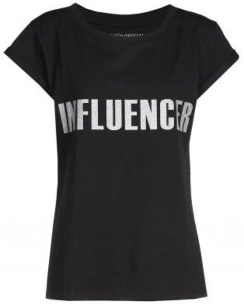 T-shirt– INFLUENCER black print silver