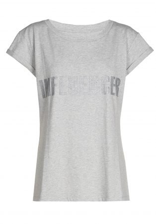 T-shirt– INFLUENCER grey print silver glitter