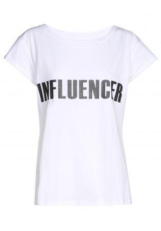 T-shirt– INFLUENCER white print black glitter