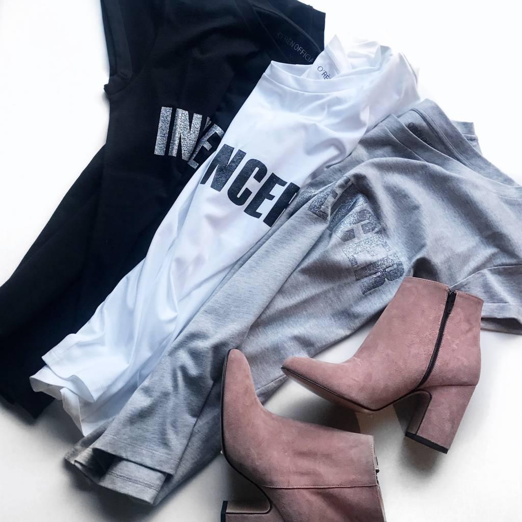 T-shirt– INFLUENCER white print  black glitter  - Copy