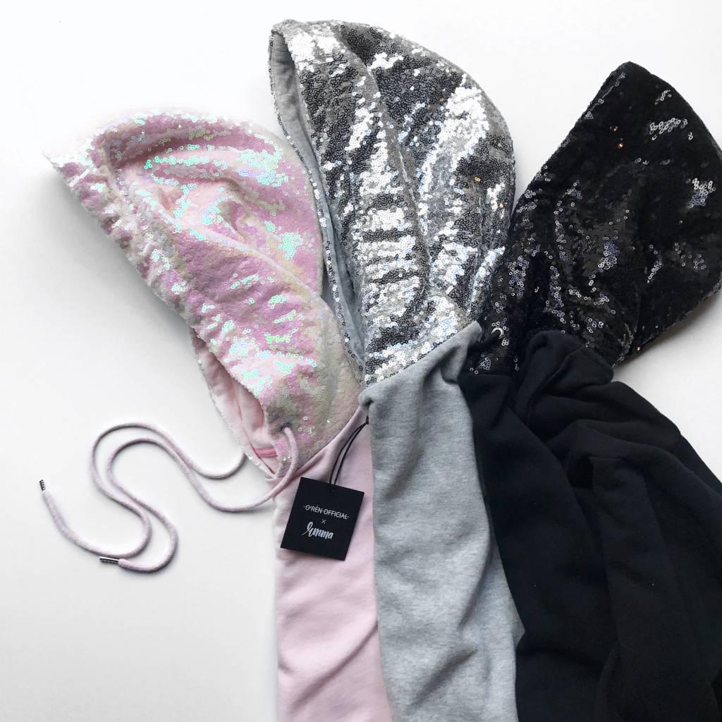 Hoodie  – INFLUENCER balck sequin