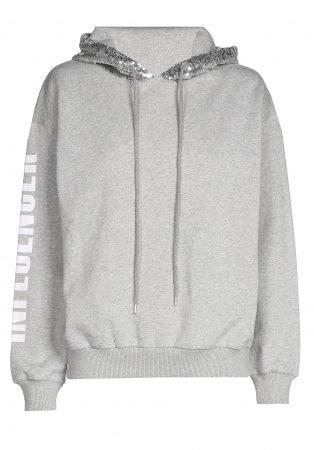 Hoodie  – INFLUENCER grey sequin