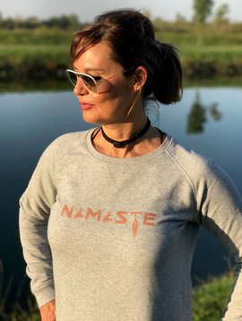 Miss Milla NAMASTE sweater grey print copper/shimmer