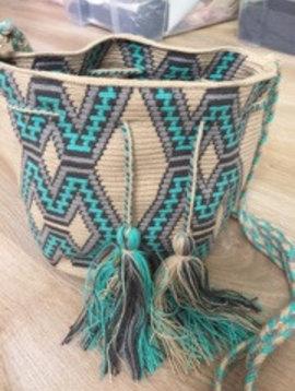 Bag Wayuu turquoise/grey medium size