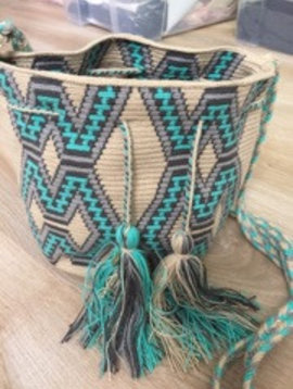 Sac Wayuu turquoise/gris medium