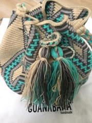 Bag Wayuu turquoise print medium