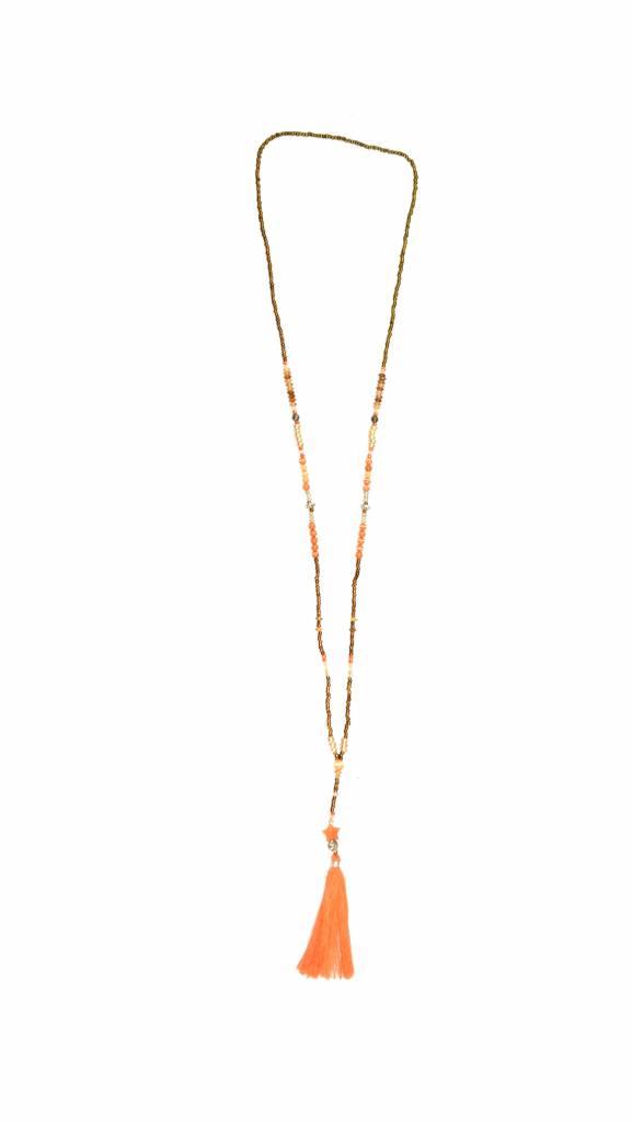 Halsketting The tiny long necklace oranje