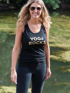 Miss Milla YOGA ROCKS  tank top black print gold