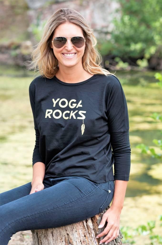Miss Milla YOGA ROCKS tshirt halflange mouw zwart