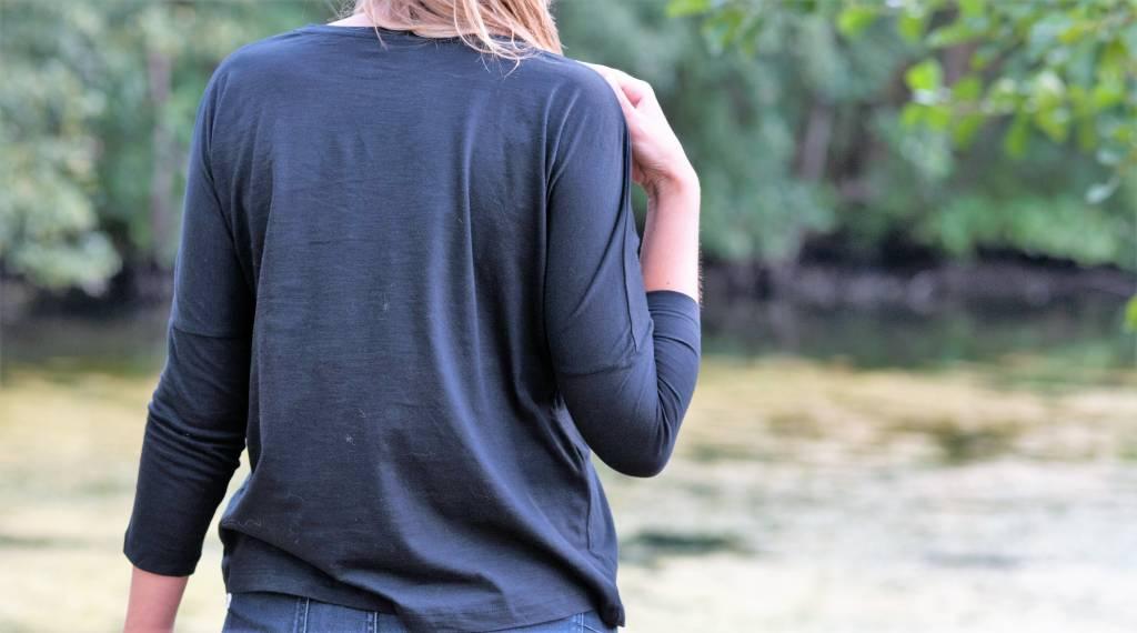 Miss Milla YOGA ROCKS tshirt slub dropped shoulder BLACK