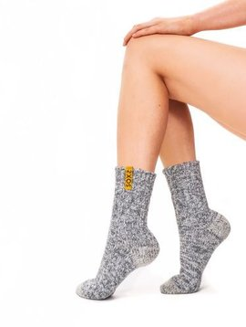 Soxs Wool sock woman light grey medium golden glow label