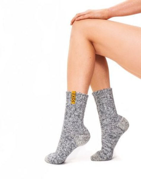 Soxs Wool sock woman light grey medium golden glow label size 37-41