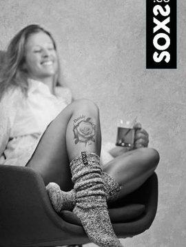 Soxs Wollen sok vrouw lichtgrijs kniehoogte  zwarte label