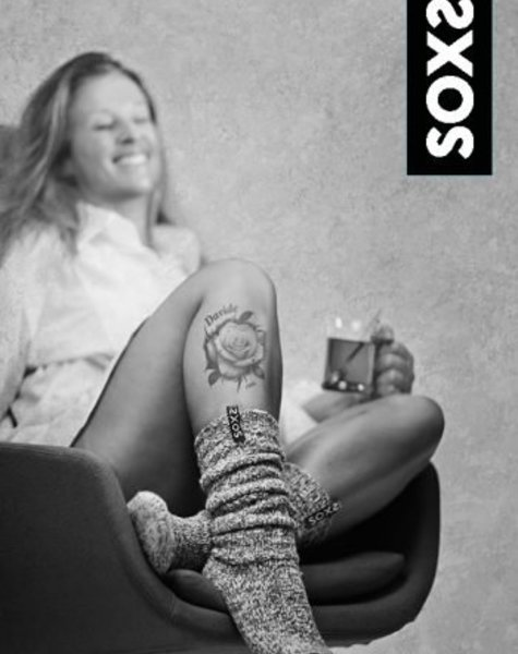 Soxs Wollen sok vrouw lichtgrijs kuithoogte  zwarte label maat 37-41