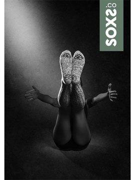 Soxs Wollen sok vrouw lichtgrijs kniehoogte antislip whispergreen label