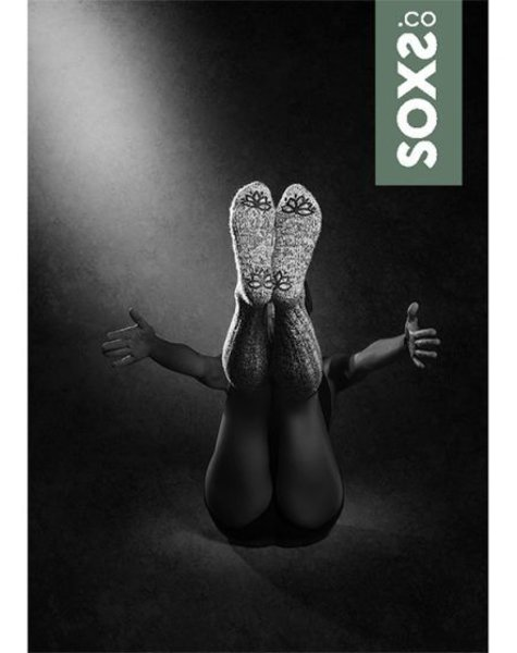 Soxs Wollen sok vrouw lichtgrijs kuithoogte  antislip whispergreen label maat 37-41
