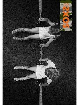 Soxs Wollen sok kids lichtgrijs kniehoogte oranje  label