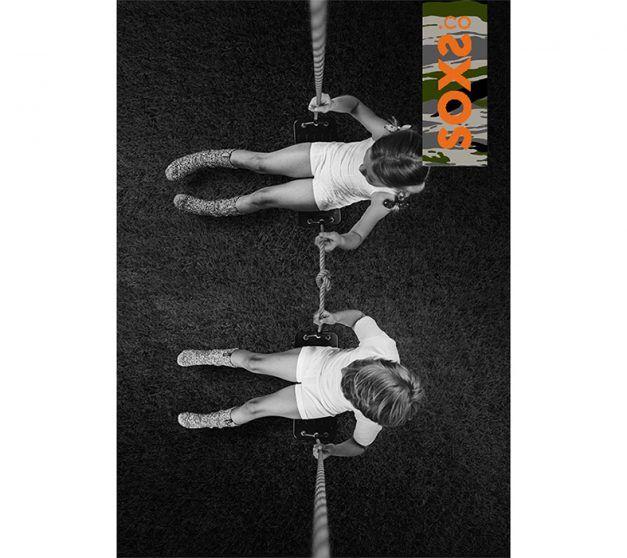 Soxs  Wollen sok kids lichtgrijs kniehoogte oranje  label  maat 29-33