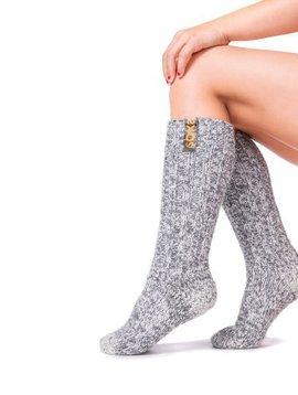 Soxs Wool sock kids light grey medium blazing orange label