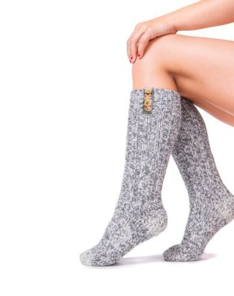 Soxs  Wool sock kids light grey medium high blazing orange label  size 29-33