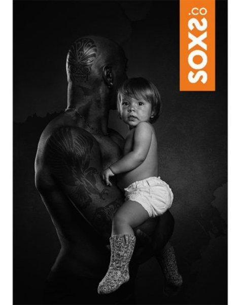 Soxs  Wool sock baby antislip light grey medium orange label  size 19-29