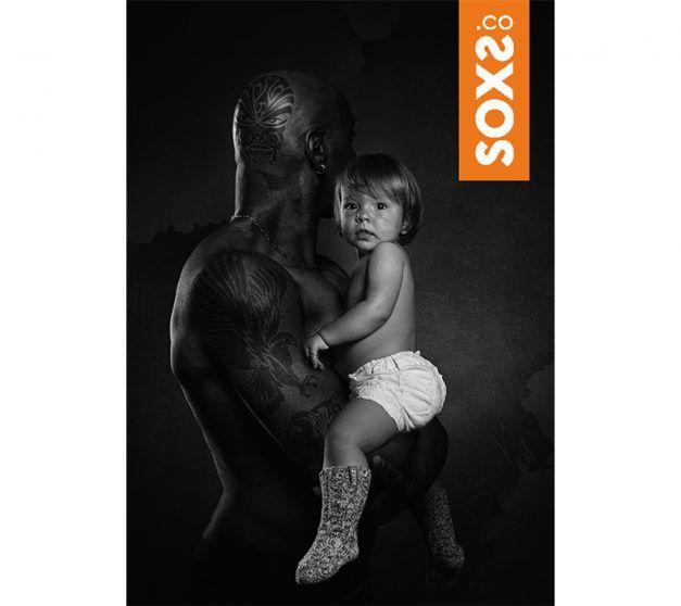 Soxs Wollen sok baby antislip lichtgrijs kniehoogte oranje  label  maat 19-29
