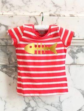 T-shirt rood/wit gestreept visgraat happy