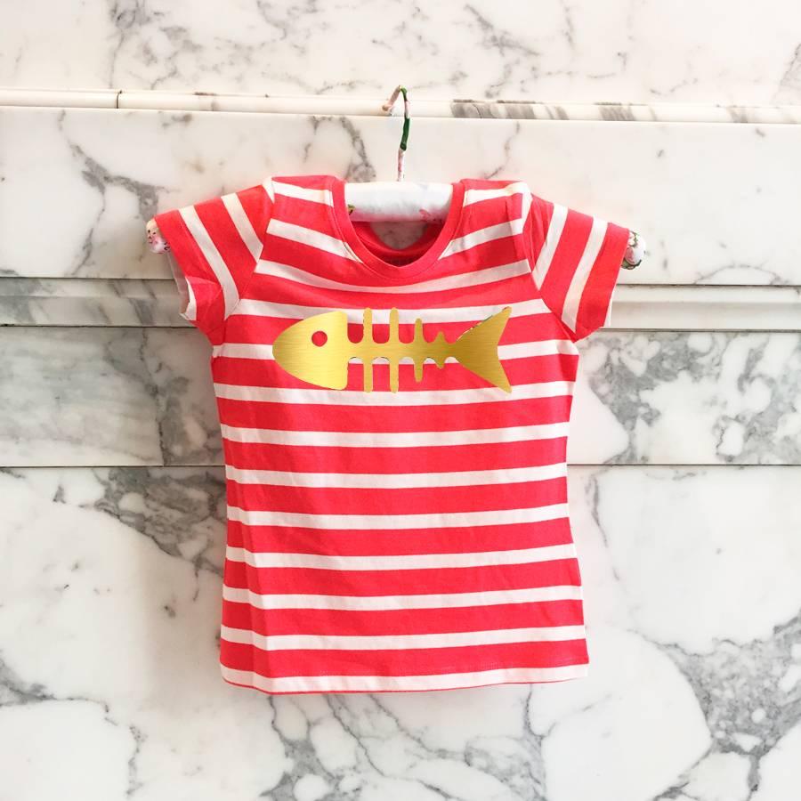 T-shirt red / white striped herringbone happy