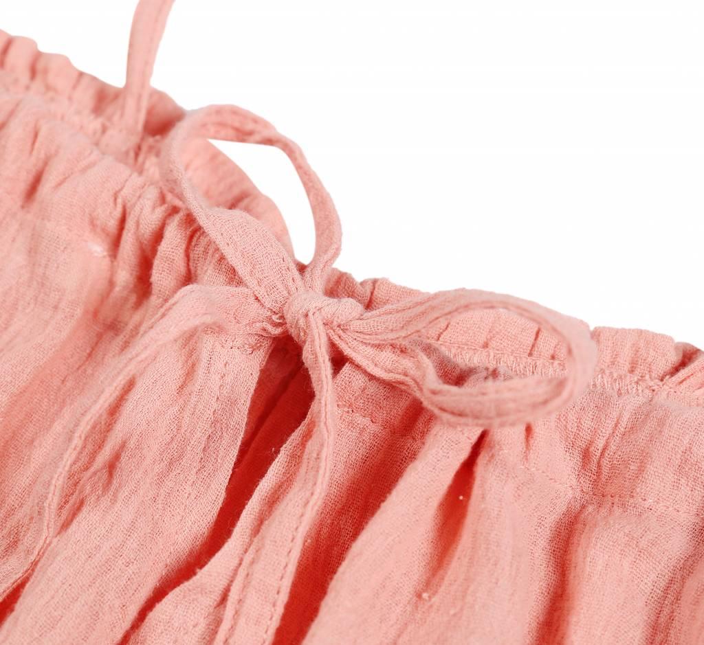 Jurk fijne bretelbandjes in roestkleur