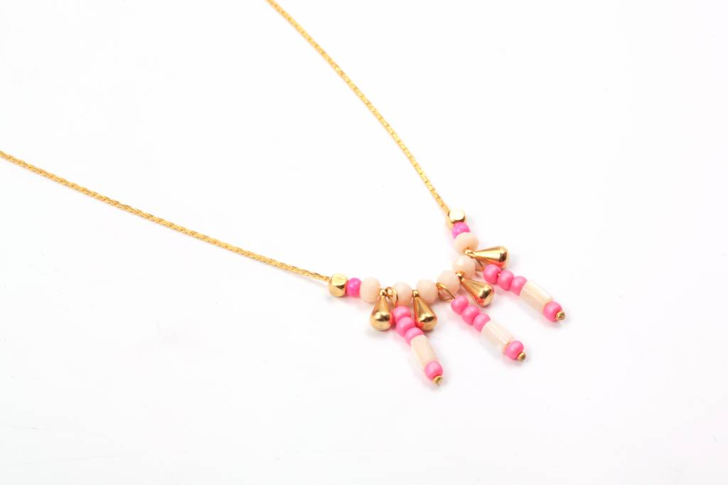 Necklace Inca pink kid