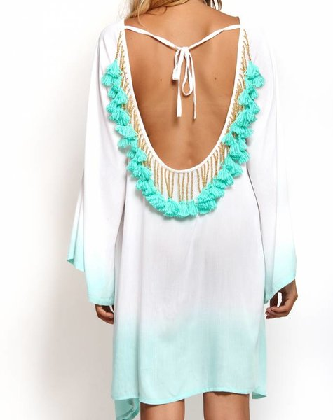 Indiana Ombre korte Wit / Turquoise
