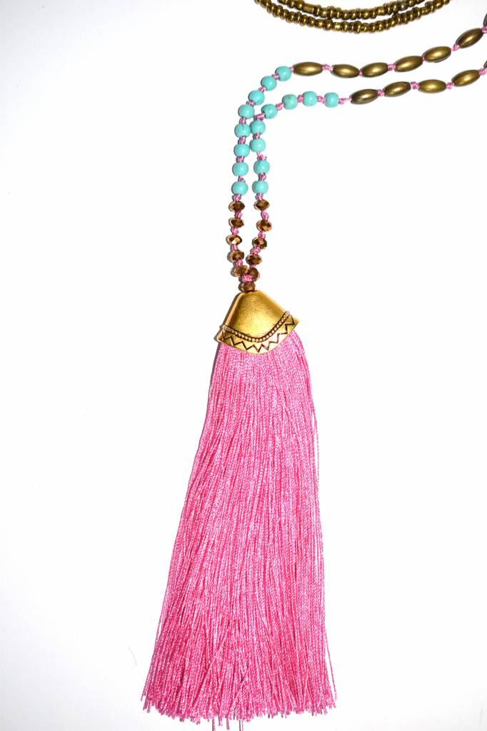Ketting tassel/pompon roze
