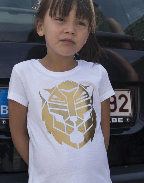 T-shirt wit simba goud