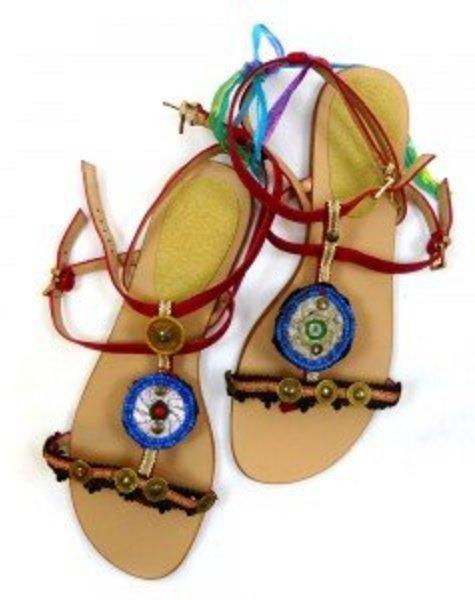 sandalen/teenslippers bordeaux/rood, met zwart en blauw, munt, maat 40