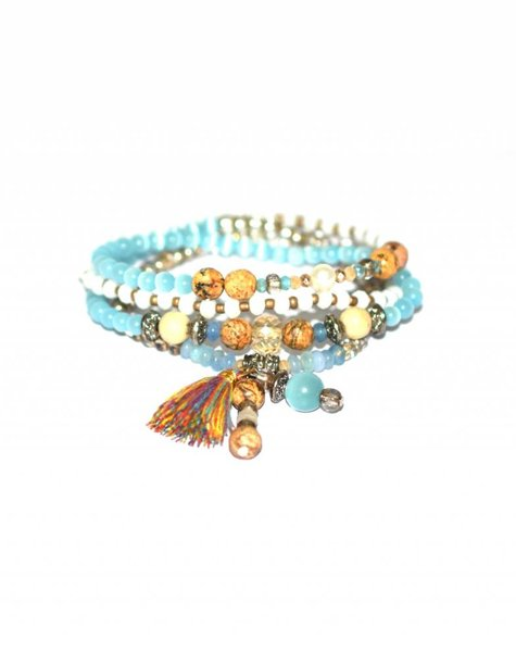 The elastic 4 layer bracelet turquoise