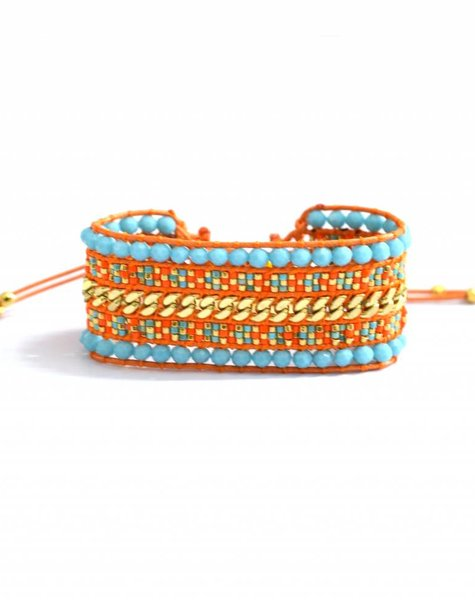 Armband The Miyuki double turq/oranje