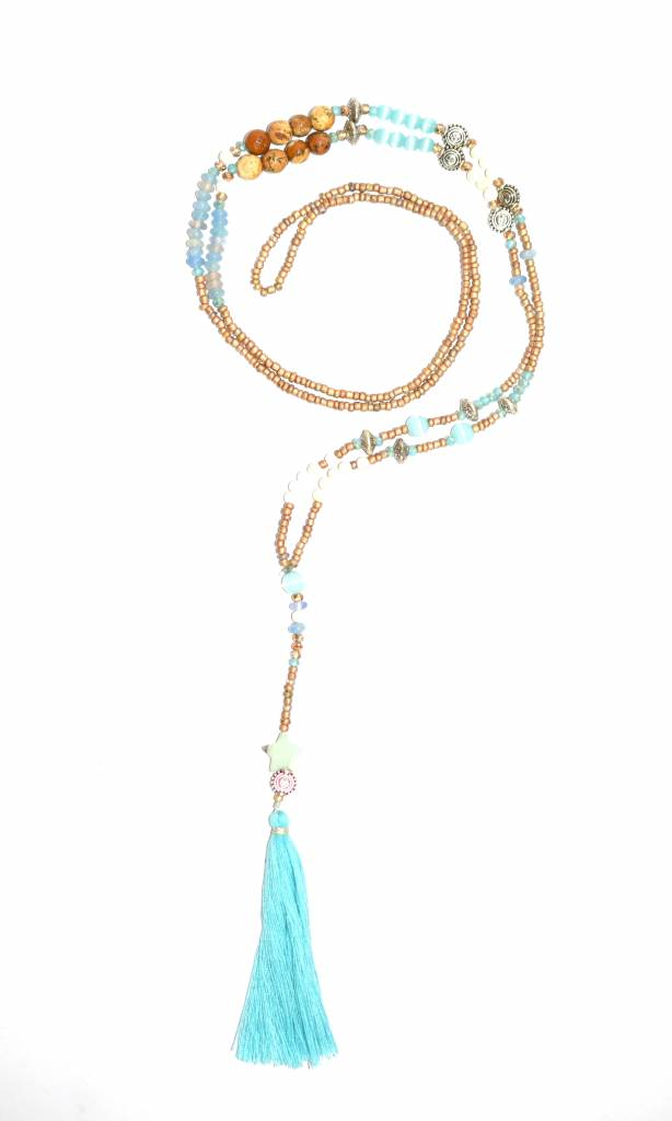 Necklace The tiny long necklace turquoise